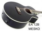 Guitarra Washburn  EA - 12B Negra Cuerdas Metalicas Electroácustica Equalizador Con Afinador