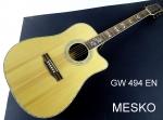 Guitarra Memphis Folk GW 494 EN Cuerdas Metálicas, Electroacústica con Equalizador Digital 4 Bandas con Afinador