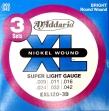 Juego Cuerdas D'addario EXL 120- 3 D Para guitarra Eléctrica 09 - 011 - 016 - 024 - 032 - 042  Caja de 3 Juegos de Cuerdas