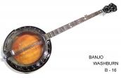 Banjo Washburn B 16  Americano 5 Cuerdas, Caja de Arce (Maple) Parche Remo Tarnsparente, 24 Tiradores, no Incluye Estuche