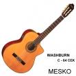 Guitarra Washburn C 64 SCE Cuerdas Nylon Electroacústica, Incluye Estuche Negro de Madera Duro