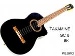 Guitarra takamine GC - 6 BK, 20 Espacios Cuerdas Nylon, con Equalizador Takamine TP-4 T