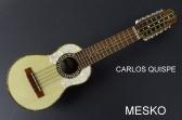 Carlos Quispe T. Charango Linea Profesional, Tallado Motivo Quirquincho  Incluye Funda   # 33